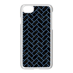 Brick2 Black Marble & Blue Colored Pencil Apple Iphone 7 Seamless Case (white) by trendistuff