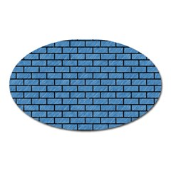 Brick1 Black Marble & Blue Colored Pencil (r) Magnet (oval) by trendistuff