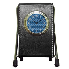 Brick1 Black Marble & Blue Colored Pencil (r) Pen Holder Desk Clock by trendistuff