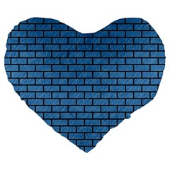 Brick1 Black Marble & Blue Colored Pencil (r) Large 19  Premium Flano Heart Shape Cushion by trendistuff