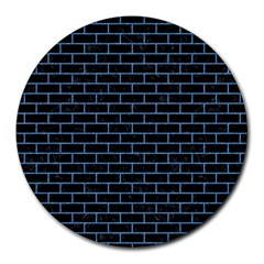 Brick1 Black Marble & Blue Colored Pencil Round Mousepad