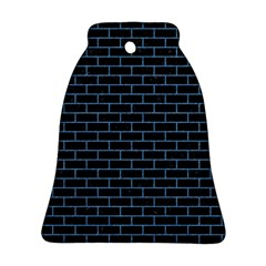 Brick1 Black Marble & Blue Colored Pencil Ornament (bell) by trendistuff