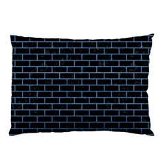 Brick1 Black Marble & Blue Colored Pencil Pillow Case (two Sides) by trendistuff