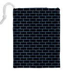 BRICK1 BLACK MARBLE & BLUE COLORED PENCIL Drawstring Pouch (XXL) Back