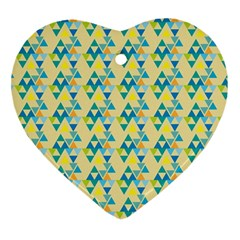 Colorful Triangle Pattern Heart Ornament (two Sides) by berwies