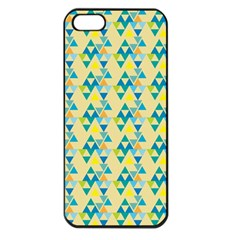 Colorful Triangle Pattern Apple Iphone 5 Seamless Case (black) by berwies