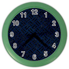 Woven2 Black Marble & Blue Grunge (r) Color Wall Clock by trendistuff