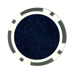 Woven2 Black Marble & Blue Grunge (r) Poker Chip Card Guard by trendistuff