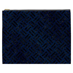 Woven2 Black Marble & Blue Grunge (r) Cosmetic Bag (xxxl) by trendistuff