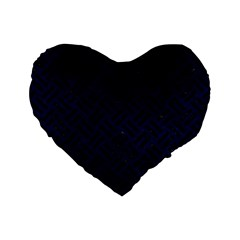 Woven2 Black Marble & Blue Grunge (r) Standard 16  Premium Flano Heart Shape Cushion  by trendistuff