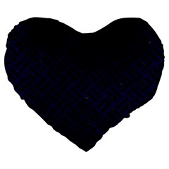 Woven2 Black Marble & Blue Grunge (r) Large 19  Premium Flano Heart Shape Cushion by trendistuff