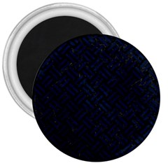 Woven2 Black Marble & Blue Grunge 3  Magnet by trendistuff