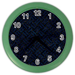 Woven2 Black Marble & Blue Grunge Color Wall Clock by trendistuff