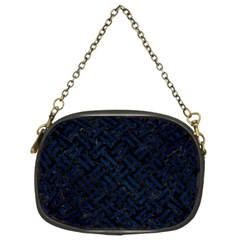 Woven2 Black Marble & Blue Grunge Chain Purse (two Sides)