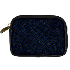 Woven2 Black Marble & Blue Grunge Digital Camera Leather Case by trendistuff