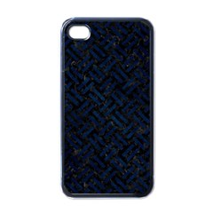 Woven2 Black Marble & Blue Grunge Apple Iphone 4 Case (black) by trendistuff
