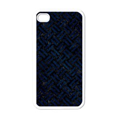 Woven2 Black Marble & Blue Grunge Apple Iphone 4 Case (white) by trendistuff