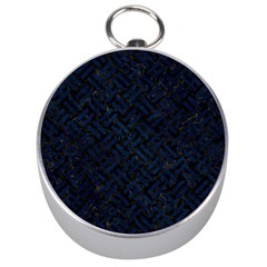 Woven2 Black Marble & Blue Grunge Silver Compass by trendistuff