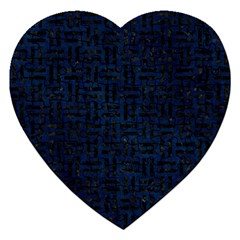 Woven1 Black Marble & Blue Grunge (r) Jigsaw Puzzle (heart)