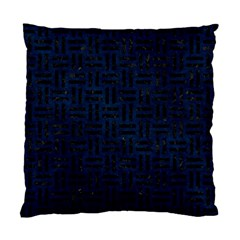 Woven1 Black Marble & Blue Grunge (r) Standard Cushion Case (two Sides) by trendistuff