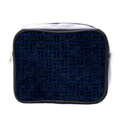 Woven1 Black Marble & Blue Grunge (r) Mini Toiletries Bag (one Side) by trendistuff