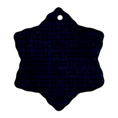 Woven1 Black Marble & Blue Grunge (r) Snowflake Ornament (two Sides) by trendistuff