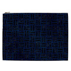 Woven1 Black Marble & Blue Grunge (r) Cosmetic Bag (xxl) by trendistuff