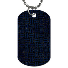 Woven1 Black Marble & Blue Grunge Dog Tag (two Sides) by trendistuff