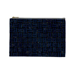 Woven1 Black Marble & Blue Grunge Cosmetic Bag (large) by trendistuff