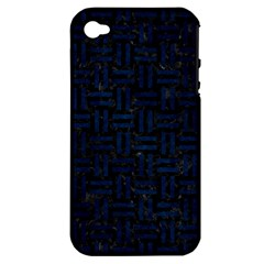 Woven1 Black Marble & Blue Grunge Apple Iphone 4/4s Hardshell Case (pc+silicone)