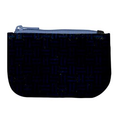 Woven1 Black Marble & Blue Grunge Large Coin Purse by trendistuff