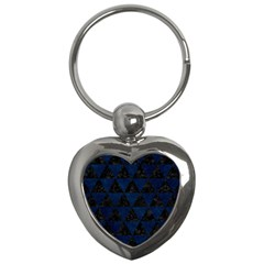 Triangle3 Black Marble & Blue Grunge Key Chain (heart) by trendistuff