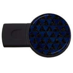 Triangle3 Black Marble & Blue Grunge Usb Flash Drive Round (2 Gb) by trendistuff