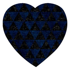Triangle3 Black Marble & Blue Grunge Jigsaw Puzzle (heart) by trendistuff