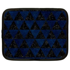 Triangle3 Black Marble & Blue Grunge Netbook Case (large) by trendistuff