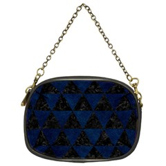 Triangle3 Black Marble & Blue Grunge Chain Purse (one Side) by trendistuff