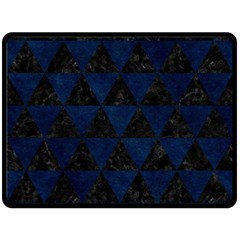 Triangle3 Black Marble & Blue Grunge Double Sided Fleece Blanket (large)