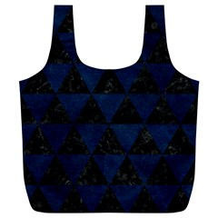Triangle3 Black Marble & Blue Grunge Full Print Recycle Bag (xl) by trendistuff