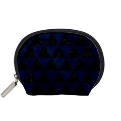 Triangle3 Black Marble & Blue Grunge Accessory Pouch (small) by trendistuff