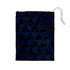 Triangle3 Black Marble & Blue Grunge Drawstring Pouch (large) by trendistuff