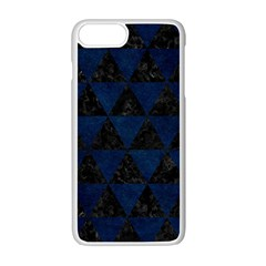 Triangle3 Black Marble & Blue Grunge Apple Iphone 7 Plus White Seamless Case by trendistuff