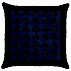 Triangle2 Black Marble & Blue Grunge Throw Pillow Case (black) by trendistuff