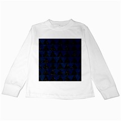 Triangle2 Black Marble & Blue Grunge Kids Long Sleeve T Shirt by trendistuff