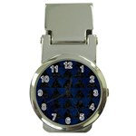 TRIANGLE2 BLACK MARBLE & BLUE GRUNGE Money Clip Watch Front