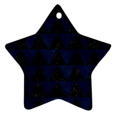 Triangle2 Black Marble & Blue Grunge Star Ornament (two Sides) by trendistuff