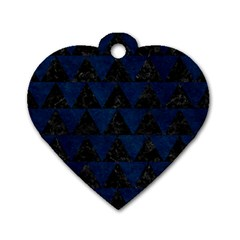 Triangle2 Black Marble & Blue Grunge Dog Tag Heart (two Sides) by trendistuff