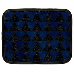 Triangle2 Black Marble & Blue Grunge Netbook Case (large) by trendistuff