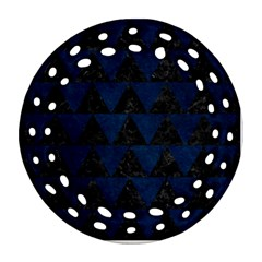 Triangle2 Black Marble & Blue Grunge Round Filigree Ornament (two Sides) by trendistuff