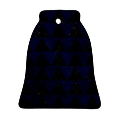 Triangle2 Black Marble & Blue Grunge Bell Ornament (two Sides) by trendistuff