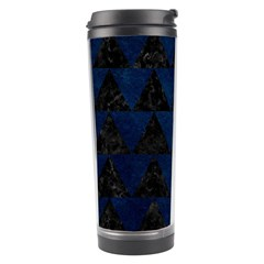 Triangle2 Black Marble & Blue Grunge Travel Tumbler by trendistuff